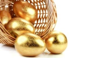 Golden easter eggs with basket,Closeup.