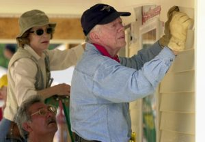 Jimmy and Rosalynn Carter on a Habitat for Humanity project